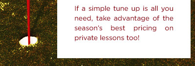 If a simple tune up is all you need, take advantage of the season's best pricing on private lessons too!
