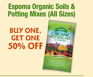 ESPOMA ORGANIC SOILS & POTTING MIXS (all sizes) Buy One/Get One 50% off
