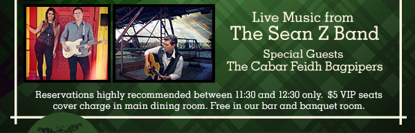 Reservations highly Recommended between 11:30 and 12:30 Only. $5 VIP Seats Cover Charge in Main Dining Room. Free in our Bar and Banquet Room.